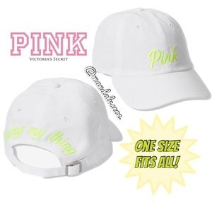 "NEW💕VS PINK NEON WHITE LOGO ""Doing my thing"" HAT"